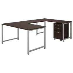 Bush Business Furniture 400 Series U Shaped Table Desk With 3 Drawer Mobile File Cabinet, 60in.W x 30in.D, Mocha Cherry, Standard Delivery