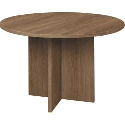 HON X-Base Round Conference Table - 29.5in. - Material: Thermofused Laminate (TFL) - Finish: Pinnacle