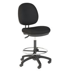 Bush Business Furniture Accord Drafting Stool With Chrome Foot Ring, Black Fabric, Premium Installation