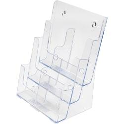 deflecto 6-Leaflet Tiered Desktop Lit. Holder - 6 Pocket(s) - 3 Tier(s) - 13.8in. Height x 9in. Width x 7.5in. Depth - Desktop, Wall Mountable - Clear - Plastic