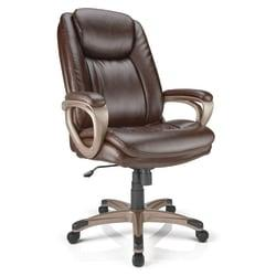 Realspace(R) Tresswell Bonded Leather High-Back Chair, Brown/Champagne