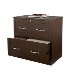 Realspace(R) Premium Letter-/Legal-Size Lateral File Cabinet, 2 Drawers, Mocha