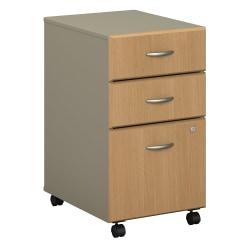 Bush Business Furniture Office Advantage 3 Drawer Mobile File Cabinet, Light Oak/Sage, Standard Delivery