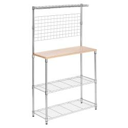 Honey-Can-Do Urban Steel Baker's Rack With Wood Cutting Board, 2-Tiers, Chrome/Wood