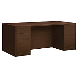 HON 10500 Series Double Pedestal Desk - 72in. x 36in. x 29.5in., 72in. x 36in. Work Surface, Edge - 5 x Box Drawer(s), File Drawer(s) - Double Pedestal on Left/