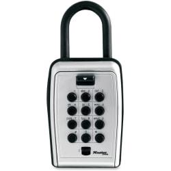 Master Lock Portable Key Safe - Push Button Lock - Weather Resistant, Scratch Resistant - for Door - Overall Size 3.1in. - Black, Silver - Metal, Vinyl