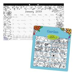 Blueline Garden Design Compact Monthly Desk Pad - Monthly - January 2019 till December 2019 - 1Month Single Page Layout - Desk Pad - White - Chipboard - Tear-of