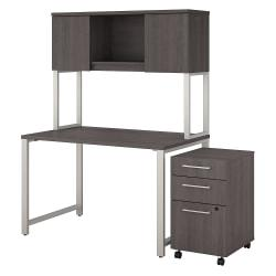 Bush Business Furniture 400 Series Table Desk With Hutch And 3 Drawer Mobile File Cabinet, 48in.W x 30in.D, Storm Gray, Premium Installation