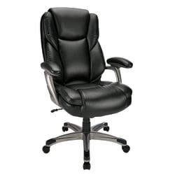 Realspace(R) Cressfield Bonded Leather High-Back Chair, Black/Silver