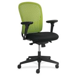 Safco Adjustable Arms Black Fabric Task Chair - Fabric Black Seat - Poly Back - Black Frame - 5-star Base - Green - 24.8in. Width x 26in. Depth x 39in. Height