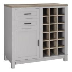 Ameriwood(TM) Home Carver Storage Cabinet/Buffet, 18 Cubbies/2 Shelves/2 Drawers, Gray/Weathered Oak