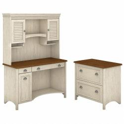 Bush Furniture Stanford Computer Desk With Hutch And 2 Drawer Lateral File Cabinet, Antique White/Tea Maple, Standard Delivery