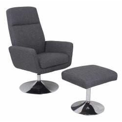 Global Office Furniture Fabric High-Back Chair With Ottoman, Gray/Chrome