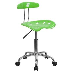 Flash Furniture Vibrant Low-Back Task Chair With Tractor Seat, Apple Green/Chrome