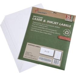 SKILCRAFT(R) 100% Recycled White Inkjet/Laser Shipping Labels, 2in. x 4in., 10 Sheets Per Pack, Box Of 25 Packs (AbilityOne 7530-01-578-9293)
