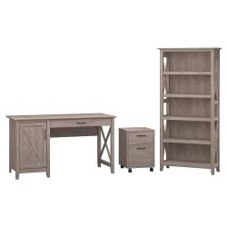 Bush Furniture Key West 54in.W Computer Desk With Storage, 2 Drawer Mobile File Cabinet And 5 Shelf Bookcase, Washed Gray, Standard Delivery