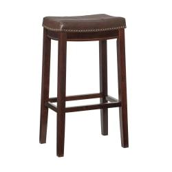 Linon Home Decor Claridge Patches Bar Stool, 32in.H x 18 3/4in.W x 13 1/4in.D, Dark Brown
