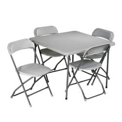 Work Smart 5-Piece Folding Table Chair Set, Gray