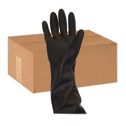 Safety Zone Black Heavy Duty Unlined Latex Gloves - Chemical Protection - Large Size - Latex - Black - Rolled Cuff, Raised Diamond Grip, Heavy Duty, Flock-lined