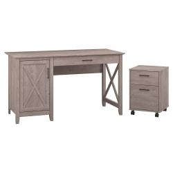 Bush Furniture Key West 54in.W Computer Desk With Storage And 2 Drawer Mobile File Cabinet, Washed Gray, Standard Delivery
