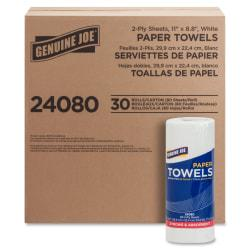 Genuine Joe 2-Ply Household Roll Towels, 11in. x 8in., White, Roll Of 80 Sheets, Carton Of 30 Rolls