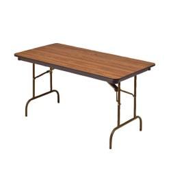 Iceberg Premium Folding Table, Rectangular, 29in.H x 60in.W x 30in.D, Oak\/Brown