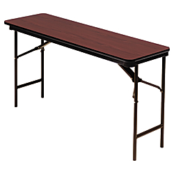 Iceberg Premium Folding Table, Rectangular, 29in.H x 60in.W x 18in.D, Mahogany\/Brown