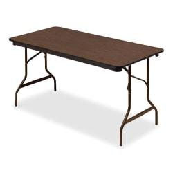 Iceberg Economy Folding Table, Rectangle, 60in.W x 30in.D, Walnut