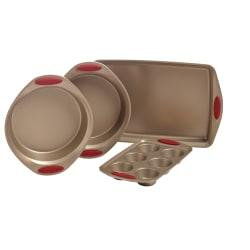 Rachael Ray Cucina Nonstick Bakeware 4-Piece Set, Latte Brown/Cranberry Red