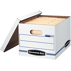 Bankers Box(R) Stor/File(TM) EasyLift(TM) Storage Boxes, 12in. x 12in. x 10in., 60% Recycled, White/Blue, Pack Of 12