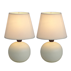 Simple Designs Mini Globe Table Lamps, 8 7/8in.H, Off-White Shade/Off-White Base, Set Of 2