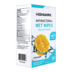 Personal Care Wet Wipes, Citrus Scent, 18 Wipes Per Box
