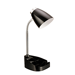LimeLights Gooseneck Organizer Desk Lamp, 17 1/4in.H, Black Shade/Black Base