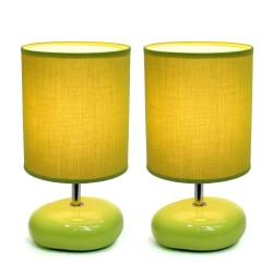 Simple Designs Stonies Bedside Table Lamps, 10 5/8in.H, Green Shade/Green Base, Set Of 2