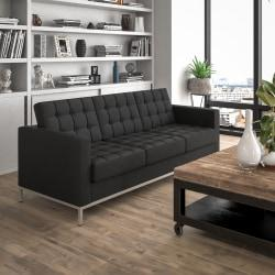 Flash Furniture HERCULES Lacey Series Contemporary Leather Sofa, Black/Stainless Steel