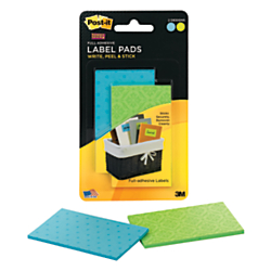 Post-it(R) Super Sticky Removable Label Pads, Rectangle, 2in. x 3in., Assorted Colors, 50 Labels Per Pad, Pack Of 2 Pads