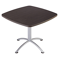 Iceberg iLand Square Hospitality Table, 36in.W x 36in.D, Brown Wood/Silver Chrome