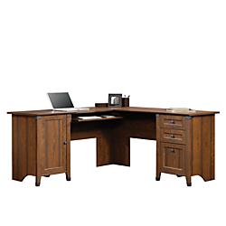 Sauder Carson Forge L-Shaped Engineered Wood Corner Computer Desk, Washington Cherry