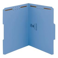 Smead(R) Color Reinforced Tab Fastener Folders, Letter Size, 1/3 Cut, 100% Recycled, Blue, Pack Of 50