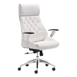 Zuo(R) Modern Faux Leather Mid-Back Boutique Office Chair, White/Chrome