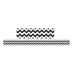 Teacher Created Resources Double-Sided Borders, 3in. x 36in., Black/White Chevron, Pack Of 12
