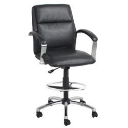 Global Office Furniture Drafting Stool, Black/Chrome