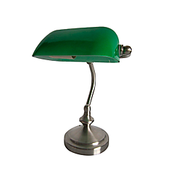 Simple Designs Traditional Mini Banker's Desk Lamp, 9 7/8in.H, Green Shade/Brushed Nickel Base