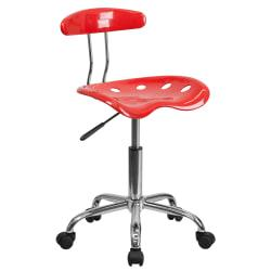 Flash Furniture Vibrant Low-Back Task Chair With Tractor Seat, Cherry Tomato/Chrome