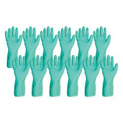 ProGuard Flock Lined 12in. Green Nitrile Gloves - Medium Size - Nitrile - Green - Abrasion Resistant, Puncture Resistant, Chemical Resistant, Non-slip Grip, Flo