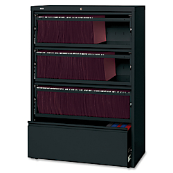 Lorell(R) Fortress Series 36ft.'W 4-Drawer Steel Lateral File Cabinet, With Roll-Out Shelves, Black