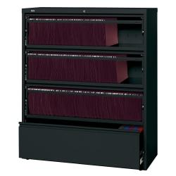 Lorell(R) Fortress Series 42ft.'W 4-Drawer Steel Lateral File Cabinet, With Roll-Out Shelves, Black