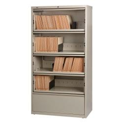 Lorell(R) Fortress Series 36ft.'W 5-Drawer Steel Lateral File Cabinet, With Roll-Out Shelves, Putty