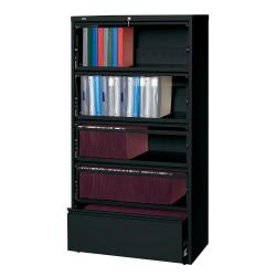 Lorell(R) Fortress Series 36ft.'W 5-Drawer Steel Lateral File Cabinet, With Roll-Out Shelves, Black