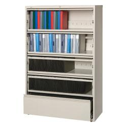 Lorell(R) Fortress Series 42ft.'W 5-Drawer Steel Lateral File Cabinet, With Roll-Out Shelves, Putty